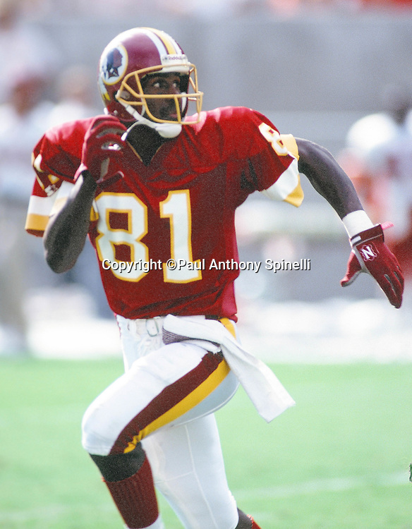 Washington Redskins wide receiver Art Monk (81) goes out for a pass during the NFL football game against the Arizona Cardinals on Oct. 4, 1992 in Tempe, Arizona. The Cardinals won the game 27-24. (©Paul Anthony Spinelli)