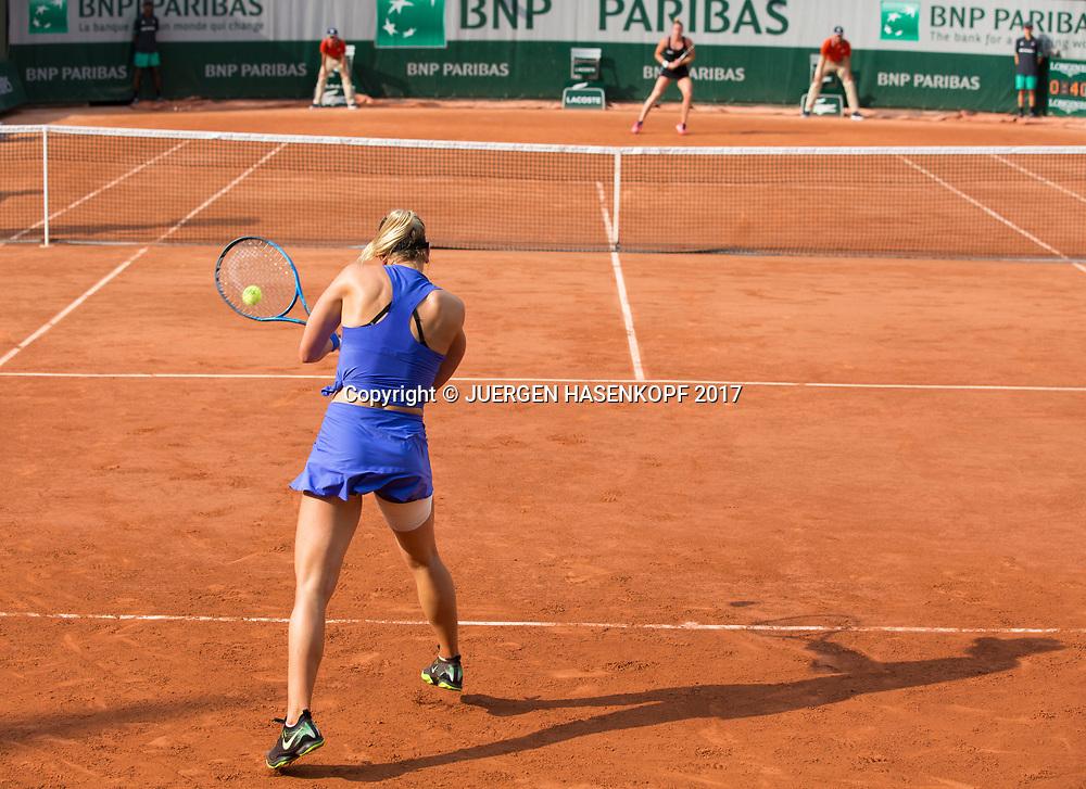 CARINA WITTHOEFT (GER),Rueckschlag von hinten, Rueckenansicht,Schatten,<br /> <br /> <br /> Tennis - French Open 2017 - Grand Slam / ATP / WTA / ITF -  Roland Garros - Paris -  - France  - 1 June 2017.