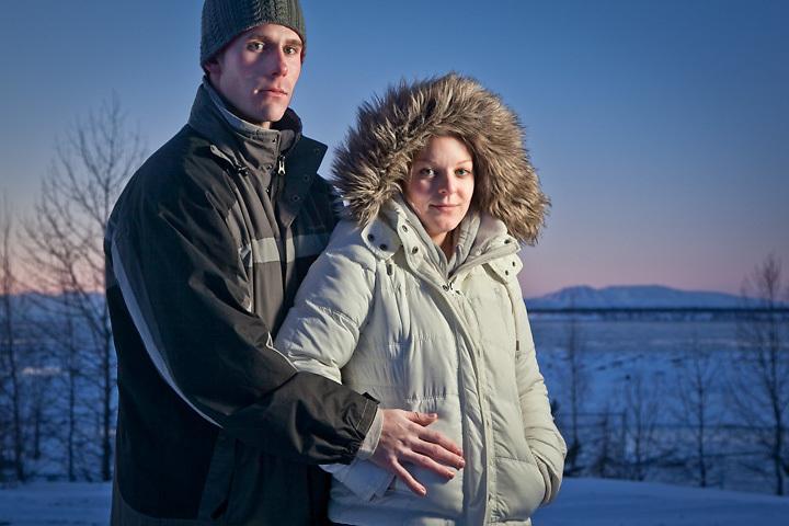 Brandon Hollyfield and Kimber Sandback at the foot of Ninth Avenue, Anchorage, Alaska
