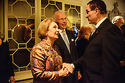 "Photo by Matt Roth.Assignment ID: 10137379A..Party co-hosts Vicki and Roger Sant greet DC Mayor Vincent Gray in the Dolley Madison Ballroom lobby at the  at the Madison Hotel in Washington, D.C. on Sunday, January 20, 2013. The Sants hosted an inaugural ""Bi-Partisan Celebration"" party with Buffy and Bill Cafritz, Ann and Vernon Jordan."