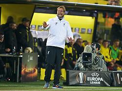 DORTMUND, GERMANY - Thursday, April 7, 2016: Liverpool's manager Jürgen Klopp during the UEFA Europa League Quarter-Final 1st Leg match against Borussia Dortmund at Westfalenstadion. (Pic by David Rawcliffe/Propaganda)