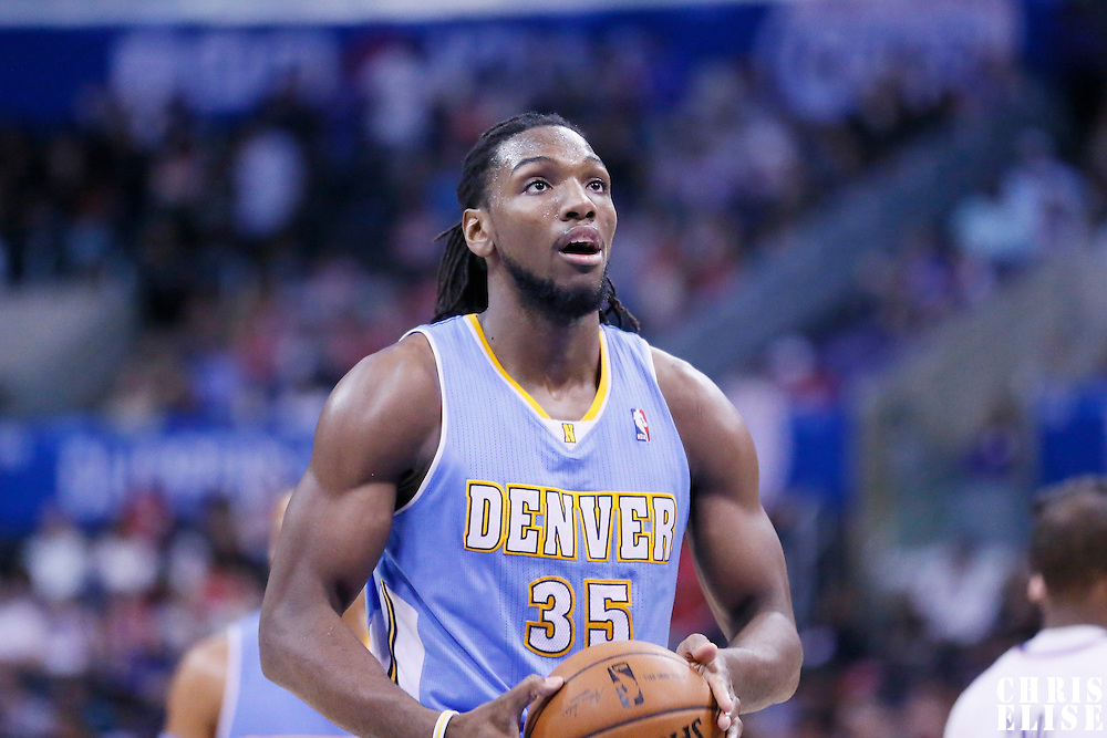 15 April 2014: Denver Nuggets forward Kenneth Faried (35) is seen at the free throw line during the Los Angeles Clippers 117-105 victory over the Denver Nuggets at the Staples Center, Los Angeles, California, USA.
