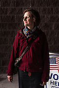 """HOOVER, AL – MARCH 1, 2016: Imelda Vetter stands outside the Hunter Street Baptist Church polling station. A native of New Jersey, Vetter has lived in Alabama for eight years. """"The country going off the deep end with people voting for Trump. That's my fear. I voted for Hilllary because I think she has a better chance of defeating him.<br />  <br /> On Super Tuesday, voters in the economically vibrant city of Hoover turned out to voice their support for a presidential candidate. Located in the Appalachian foothills, Hoover is the largest suburb of Birmingham and is home to several planned communities with idyllic neighborhoods tailored for the upper middle class. CREDIT: Bob Miller for The Wall Street Journal<br /> OLDCITIES"""