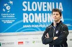 Tomislav Ternar during press conference of Slovenian Men Tennis Team for Davis Cup Romania vs Slovenia competition, on February 24, 2016 in Kristalna palaca, Ljubljana, Slovenia. Photo by Vid Ponikvar / Sportida