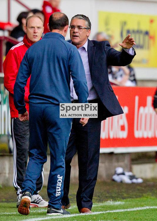 Dunfermline Athletic v Ayr United SPFL League One Season 2015/16 East End Park 12 September 2015<br /> Allan Johnston has words with Ian McCall<br /> CRAIG BROWN | sportPix.org.uk