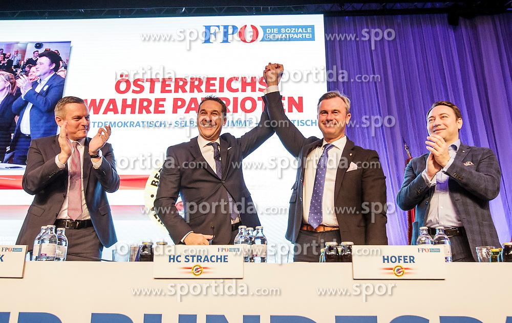 04.03.2017, Messe, Klagenfurt, AUT, FPÖ, 32. Ordentlicher Bundesparteitag, im Bild v.l.n.r. Mario Kunasek, Bundesparteiobmann Heinz Christian Strache, Norbert Hofer und Manfred Haimbuchner // at the 32nd Ordinary Party Convention of the Freiheitliche Partei Oesterreich (FPÖ) in Klagenfurt, Austria on 2017/03/04. EXPA Pictures © 2017, PhotoCredit: EXPA/ Wolgang Jannach