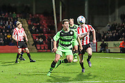 Forest Green Rovers James Jennings during the Vanarama National League match between Cheltenham Town and Forest Green Rovers at Whaddon Road, Cheltenham, England on 21 November 2015. Photo by Shane Healey.