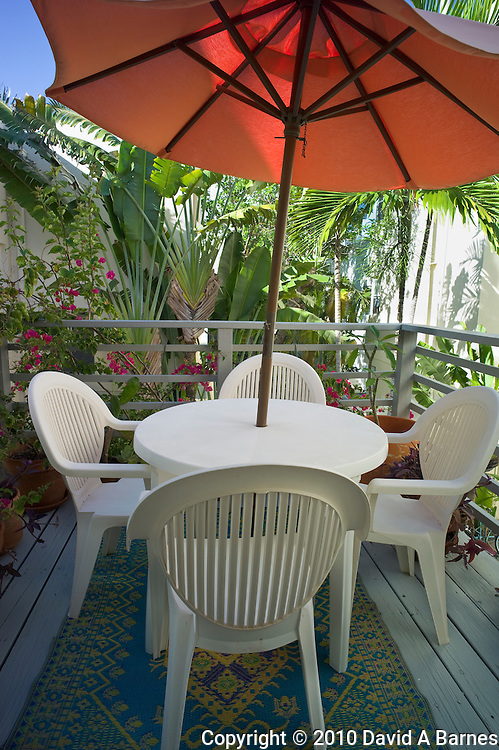 Deck with plants all around, Miami Beach, Florida, USA