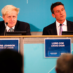 London, UK - 13 August 2012: LOCOG Chair, Sebastian Coe (R) speaks during the final press conference of the Olympic Games to discuss the success of London 2012 with Mayor Boris Johnson.