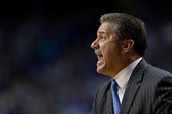 Kentucky head coach John Calipari yells at players in the first half. The University of Kentucky hosted Ole Miss, Saturday, Jan. 02, 2016 at Rupp Arena in Lexington.