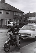 Teenager on a motorbike, West London, UK, 1983
