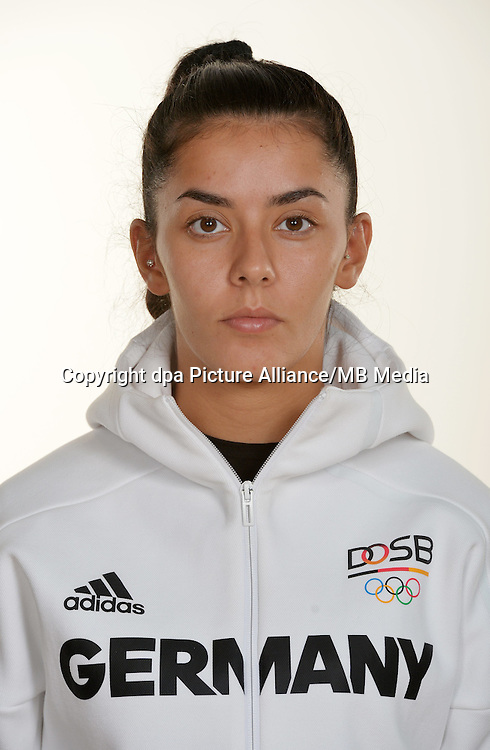 Rabia Gülec poses at a photocall during the preparations for the Olympic Games in Rio at the Emmich Cambrai Barracks in Hanover, Germany. July 26, 2016. Photo credit: Frank May/ picture alliance. | usage worldwide