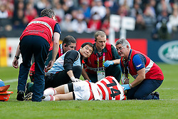 Japan Winger Akihito Yamada is treated after an injury - Mandatory byline: Rogan Thomson/JMP - 07966 386802 - 03/10/2015 - RUGBY UNION - Stadium:mk - Milton Keynes, England - Samoa v Japan - Rugby World Cup 2015 Pool B.