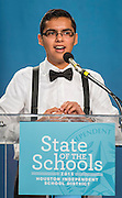 Former EMERGE student and Stanford freshman Felipe Guillen comments during the State of the Schools luncheon, February 11, 2015.
