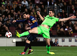 BARCELONA, Jan. 18, 2019  FC Barcelona's Messi (L) and Lavente's Sergio Postigo Redondo compete.    during the Spanish King's Cup eighth final match between FC Barcelona and Lavente in Barcelona, Spain, on Jan. 17, 2019. (Credit Image: © Joan Gosa/Xinhua via ZUMA Wire)