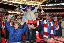 A Bristol City fan celebrates as Bristol City beat Walsall in the Johnstone Paint Trophy - Photo mandatory by-line: Dougie Allward/JMP - Mobile: 07966 386802 - 22/03/2015 - SPORT - Football - London - Wembley Stadium - Bristol City v Walsall - Johnstone Paint Trophy Final