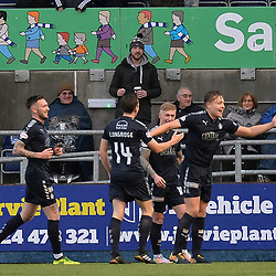 Peter Grant (Falkirk) celebrates scoring the opening goal during the Scottish Championship clash between Falkirk and Queen of the South at the Falkirk Stadium.<br /> <br /> (c) Dave Johnston | sportPix.org.uk