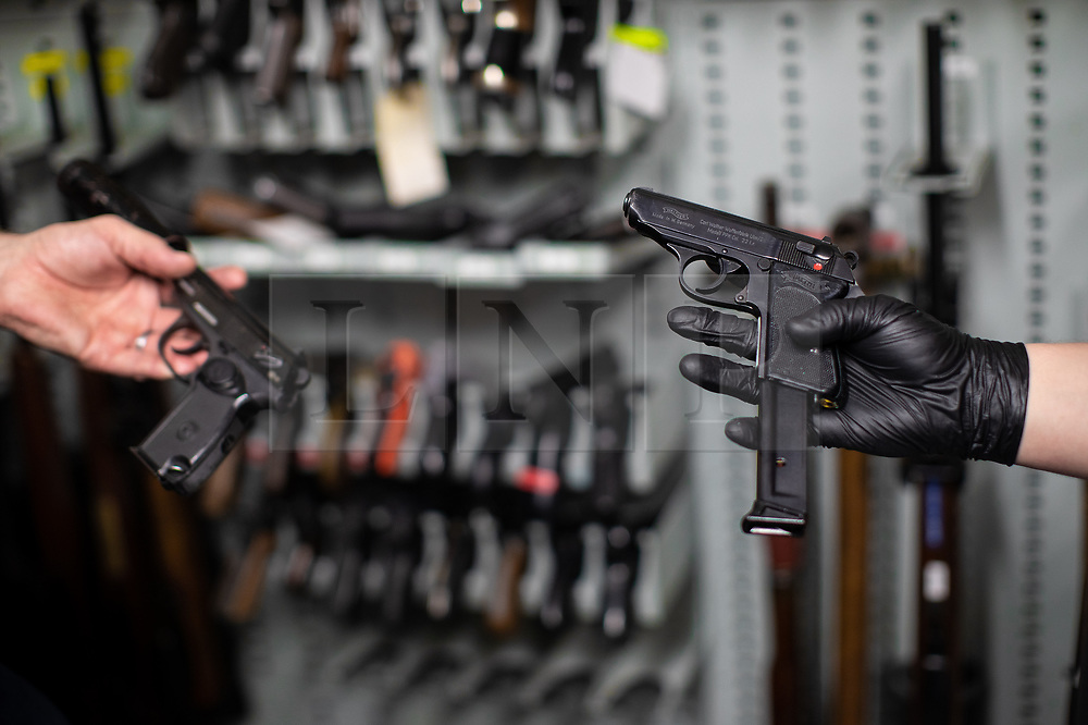 © Licensed to London News Pictures . 13/06/2019. Manchester , UK . A recovered Walther PPK 9mm handgun . Inside Greater Manchester Police's weapons store at Claytonbrook in Openshaw where police issue firearms and recovered weapons are held . Photo credit : Joel Goodman/LNP