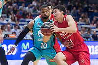 Movistar Estudiantes Omar Cook and Montakit Fuenlabrada Paco Cruz during Liga Endesa match between Movistar Estudiantes and Montakit Fuenlabrada at Wizink Center in Madrid, Spain. November 12, 2017. (ALTERPHOTOS/Borja B.Hojas)