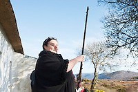 28/03/2016 Deirbhile N&iacute; Bhrolch&aacute;in with a gun from Howth Pictured at Pearse's Cottage, Teach an Phiarsaigh, in Rosmuc in Connemara during a special broadcast of RT&Eacute; Raidi&oacute; na Gaeltachta programme Adhmhaidin on Easter Monday 28 March 2016.  <br /> <br /> Patrick Pearse used the cottage as a summer house, and also as summer school for his pupils from St Enda&rsquo;s school in Dublin.  He was inspired by the people and the culture of the area, and it is said that he composed the graveside oration he gave at O&rsquo;Donovan Rossa&rsquo;s funeral in 1915 there.<br /> <br /> The broadcast was to commemorate the centenary of the Easter Rising, and also marked 30 years on air for the programme.  <br /> Photo:Andrew Downes, xposure.
