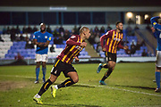 Bradford City forward James Vaughan celebrates his goal during the EFL Sky Bet League 2 match between Macclesfield Town and Bradford City at Moss Rose, Macclesfield, United Kingdom on 30 November 2019.