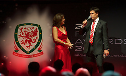 CARDIFF, WALES - Monday, October 5, 2015: Wales' manager Chris Coleman gives a speech after winning the Media Choice Award during the FAW Awards Dinner at Cardiff City Hall. (Pic by Ian Cook/Propaganda)