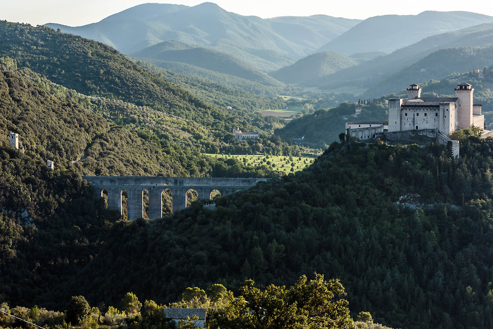 12 SEP 2015 - Spoleto (PG) - Il ponte delle Torri e la Rocca Albornoziana.
