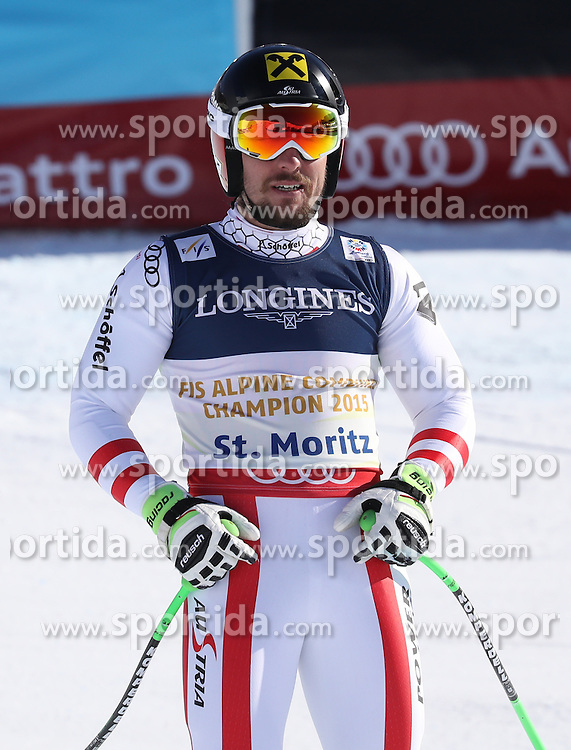 13.02.2017, St. Moritz, SUI, FIS Weltmeisterschaften Ski Alpin, St. Moritz 2017, alpine Kombination, Herren, Abfahrt, im Bild Marcel Hirscher (AUT, Herren Alpine Kombination Silbermedaille) // men&rsquo;s Alpine Combined Silver medalist Marcel Hirscher of Austria reacts after his run of downhill for the men's Alpine combination of the FIS Ski World Championships 2017. St. Moritz, Switzerland on 2017/02/13. EXPA Pictures &copy; 2017, PhotoCredit: EXPA/ Sammy Minkoff<br /> <br /> *****ATTENTION - OUT of GER*****