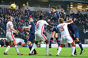Portsmouth striker Oliver Hawkins (9) heads at goal during the EFL Sky Bet League 1 match between Milton Keynes Dons and Portsmouth at stadium:mk, Milton Keynes, England on 10 February 2018. Picture by Dennis Goodwin.