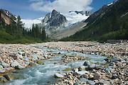 Salal Creek and rugged peaks and glaciers, Coast Range British Columbia Canada
