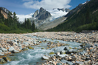 Salal Creek and rugged peaks and glaciers, Coast Range British Columbia Canada