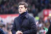 Tottenham Hotspur Manager Mauricio Pochettino  during the Barclays Premier League match between Stoke City and Tottenham Hotspur at the Britannia Stadium, Stoke-on-Trent, England on 18 April 2016. Photo by Simon Davies.