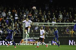 April 6, 2017 - Valencia, Comunidad Valenciana, Spain - Valencia CF vs Real Celta de Vigo - La Liga Matchday 30 - Estadio Mestalla, in action during the game -- Munir, striker for Valencia CF (middle) jumps for a high ball (Credit Image: © Vwpics/VW Pics via ZUMA Wire/ZUMAPRESS.com)