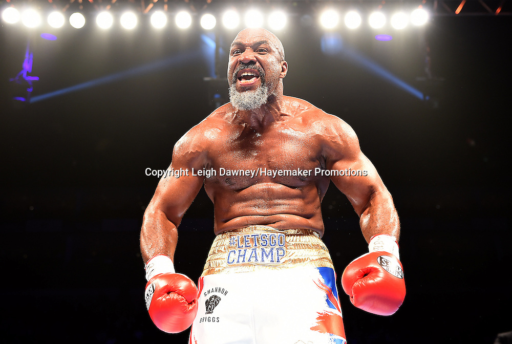 Shannon Briggs celebrates his victory against Emilio Ezequiel Zarate after a heavyweight contest at the 02 Arena, London on the 21st May 2016. Photo credit: Leigh Dawney/Hayemaker Promotions.