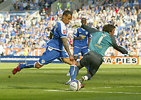 Photo: Aidan Ellis.<br /> Leicester City v Queens Park Rangers. Coca Cola Championship. 15/09/2007.<br /> Leicester's DJ Campbell misses a clear chance to score after going round QPR keeper Lee Camp