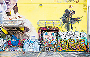 Murals and graffiti at a parking lot in Miami's Wynwood arts district