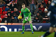 Leeds United goalkeeper Bailey Peacock-Farrell (1)  during the EFL Sky Bet Championship match between Stoke City and Leeds United at the Bet365 Stadium, Stoke-on-Trent, England on 19 January 2019.