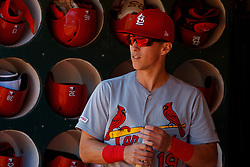 OAKLAND, CA - AUGUST 04:  Tommy Edman #19 of the St. Louis Cardinals stands in the dugout before the game against the Oakland Athletics at the RingCentral Coliseum on August 4, 2019 in Oakland, California. The Oakland Athletics defeated the St. Louis Cardinals 4-2. (Photo by Jason O. Watson/Getty Images) *** Local Caption *** Tommy Edman