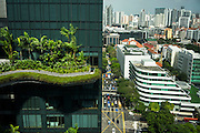 A view from the Parkroyal hotel which claims to have a total foliage cover that constitutes more than 200% of the structure's total land area, effectively using vertical greenery to replace the original greenery that was lost to build the hotel. The 12-storey-high tower features massive curvaceous, solar-powered sky-gardens which overlook the city park in the central business district of Singapore.<br />  Photo by Suzanne Lee/Panos Pictures