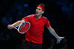 November 13, 2017 - London, England, United Kingdom - Dominic Thiem of Austia against Grigor Dimitrov of Bulgaria.during Day Two of the Nitto ATP World Tour  Finals played at The O2 Arena, London on November 13 2017  (Credit Image: © Kieran Galvin/NurPhoto via ZUMA Press)
