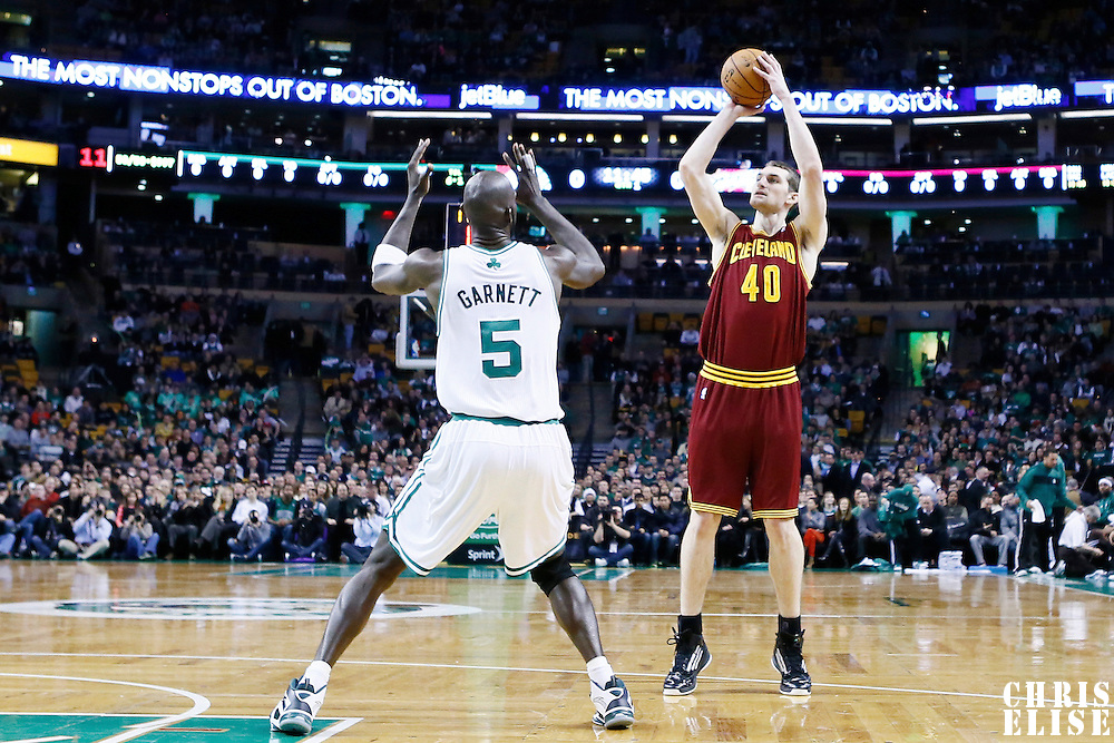 19 December 2012: Cleveland Cavaliers center Tyler Zeller (40) takes a jumpshot over Boston Celtics power forward Kevin Garnett (5) during the Boston Celtics 103-91 victory over the Cleveland Cavaliers at the TD Garden, Boston, Massachusetts, USA.