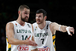 13.09.2014, City Arena, Madrid, ESP, FIBA WM, Frankreich und Litauen, Entscheidungsspiel zwischen Platz 3 und 4, im Bild Lithuania´s Valanciunas and Lavrinovic // during FIBA Basketball World Cup Spain 2014 playoff match place 3 and 4 between France and Lithuania at the City Arena in Madrid, Spain on 2014/09/13. EXPA Pictures © 2014, PhotoCredit: EXPA/ Alterphotos/ Victor Blanco<br /> <br /> *****ATTENTION - OUT of ESP, SUI*****