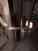 fire escape stairway in industrial building looking down