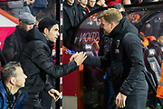 Arsenal manager Mikel Arteta and AFC Bournemouth manager Eddie Howe shake hands during the The FA Cup match between Bournemouth and Arsenal at the Vitality Stadium, Bournemouth, England on 27 January 2020.