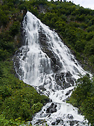 Horsetail Falls, along the Richardson Highway in Keystone Canyon (mileposts 14-17), in the Chugach Mountains, near Valdez, southcentral Alaska, USA.