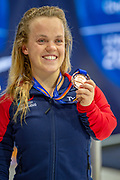 Ellie Simmonds of Great Britain with her Women's 400 m Freestyle S6 Bronze Medal during the World Para Swimming Championships 2019 Day 1 held at London Aquatics Centre, London, United Kingdom on 9 September 2019.