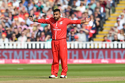 Lancashire Lightning's Zahir Khan celebrates taking the wicket of Worcestershire Rapid's Moeen Ali during the Vitality T20 Blast Semi Final match on Finals Day at Edgbaston, Birmingham.