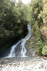 Chile, Lake Country: Waterfall Las Mellizas, or The Twins, near Peulla..Photo #: ch651-33276..Photo copyright Lee Foster www.fostertravel.com, lee@fostertravel.com, 510-549-2202.