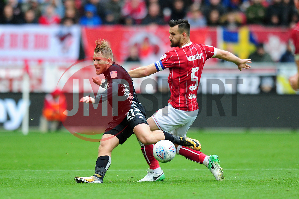 Bailey Wright of Bristol City tackles Samu Saiz of Leeds United - Mandatory by-line: Dougie Allward/JMP - 21/10/2017 - FOOTBALL - Ashton Gate Stadium - Bristol, England - Bristol City v Leeds United - Sky Bet Championship