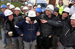 © Licensed to London News Pictures. 12/03/2013.The BBC's DIYSOS team are in Orpington, Kent this week till the (21.03.2013). Nick Knowles and the team of builders  which includes local tradesmen arrived on the (12.03.2013) to help build a family in need a new home..Photo credit : Grant Falvey/LNP